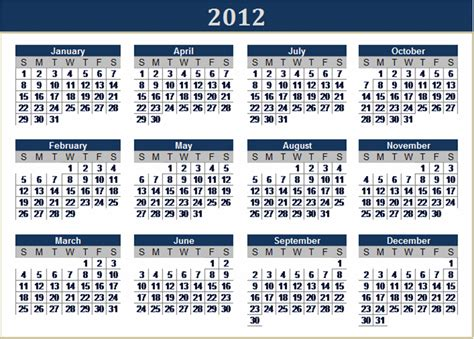 Calendar For 2012 These Excel Calendars For 2012 From Microsoft Office