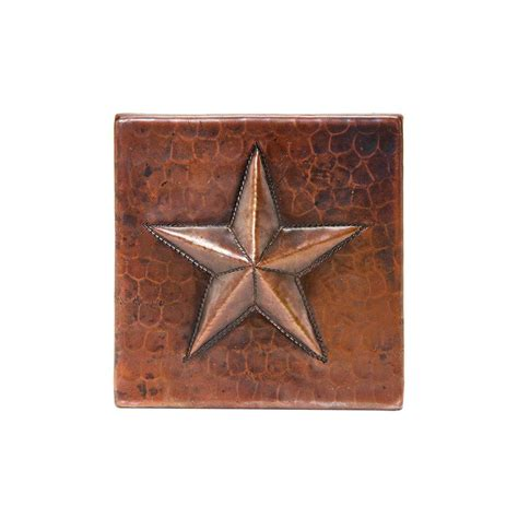 premier copper products 4 in x 4 in hammered copper star decorative wall tile in oil rubbed