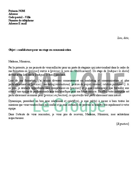 lettre de motivation pour un stage en communication pratique fr