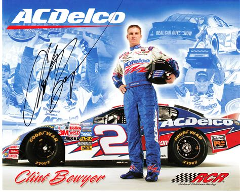 racing autograph card template clint bowyer autographed acdelco racing nascar 8x10 photo
