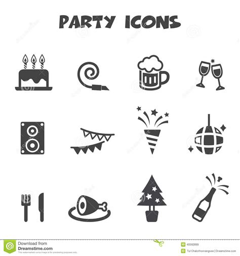 Summer Party Themes by Party Icons Stock Vector Image 40592899