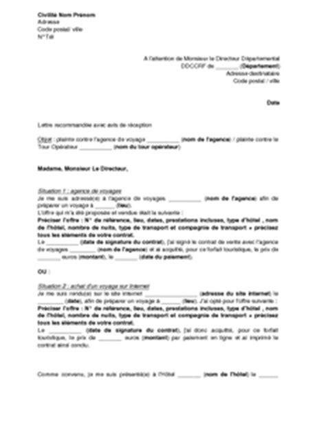 Modèle Lettre De Voyage Plainte 224 La Dgccrf Concernant Une Agence De Voyages Ou Un Tour Op 233 Rateur Prestations
