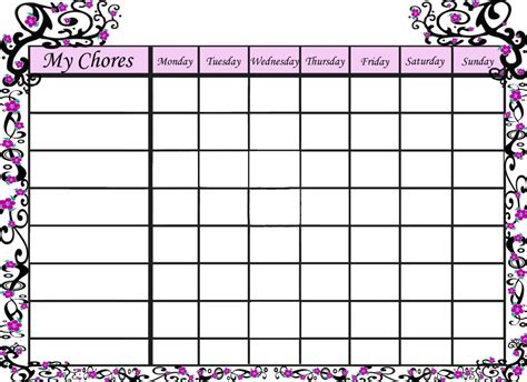 printable calendar chart free printable sakura chore chart for your little girl