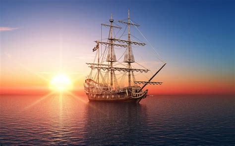 boat time in spanish sailing ship at sunset wallpaper by kyouko