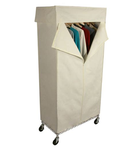 Wardrobe Rolling Rack rolling wardrobe closet and canvas cover in clothing racks