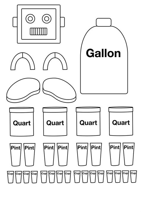 Gallon Robot To Color Put Together There Is Also One Already Together Learn Math Pint Template