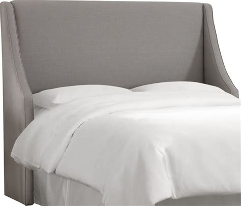 swoop arm wingback headboard in linen gray transitional