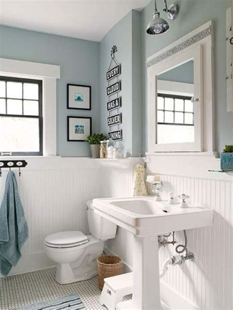 Blue Wainscoting by White Wood Panelling To Make Light Blue Bathroom More Airy