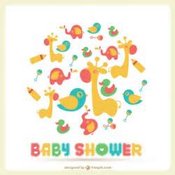baby shower card with a lot of toys vector free