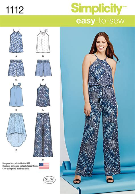 simple pattern sewing simplicity 1112 misses top pants or shorts and skirt