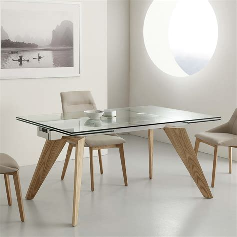 Table En Bois Extensible by Table Extensible Michigan En Verre Inox Et Bois Massif