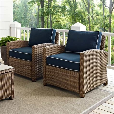 crosley biltmore outdoor wicker arm chairs with cushions