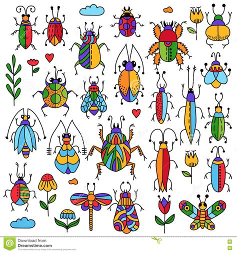 doodle up bug bugs insects doodle collection stock vector image