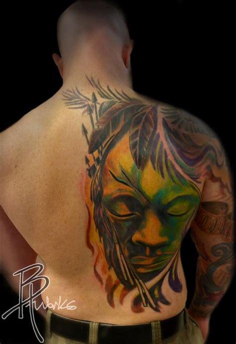 tribal back piece tattoos tribal mask half back by brandon heffron tattoos
