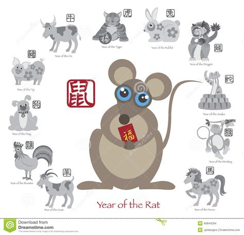 new year rat and monkey new year rat color with twelve zodiacs vector