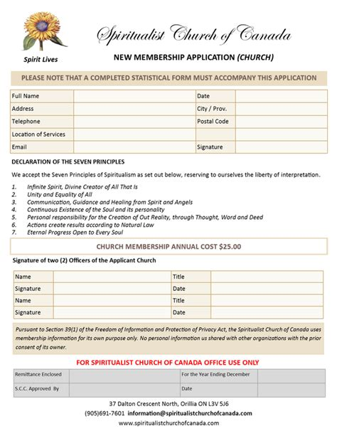 church membership forms