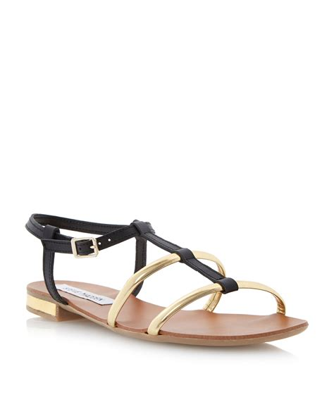 flat buckle sandals steve madden suave leather flat buckle sandals in black lyst