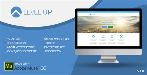 themeforest level up level up one page muse template by zacomic themeforest
