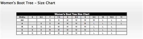 shoe tree sizing charts