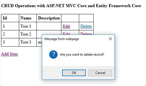 tutorial asp net core mvc performing crud operations with asp net mvc core and