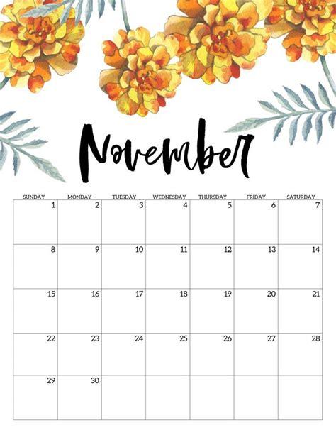 printable november  calendars  usa updated onedesblog