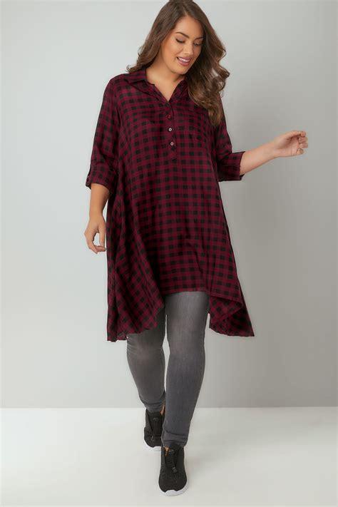 La Senza Chemise Size Xs 1 chemise asym 233 trique 224 carreaux noirs bordeaux grandes tailles 16 224 36