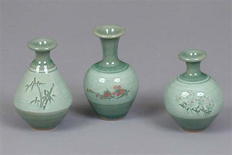 miniature celadon vase set