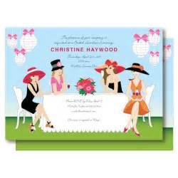 garden bridal shower invitation champagne brunch big hat