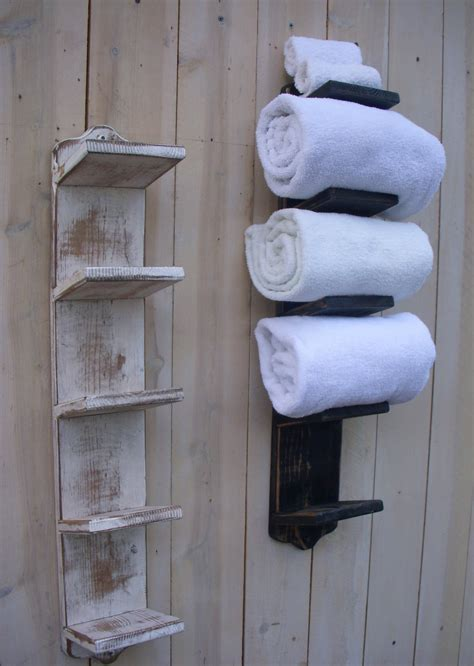 bathroom towel racks with shelves handmade towel rack bath decor wood shabby cottage