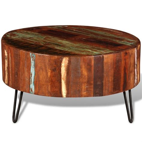 Reclaimed Solid Wood Round Coffee Table Vidaxl Com Board Coffee Table