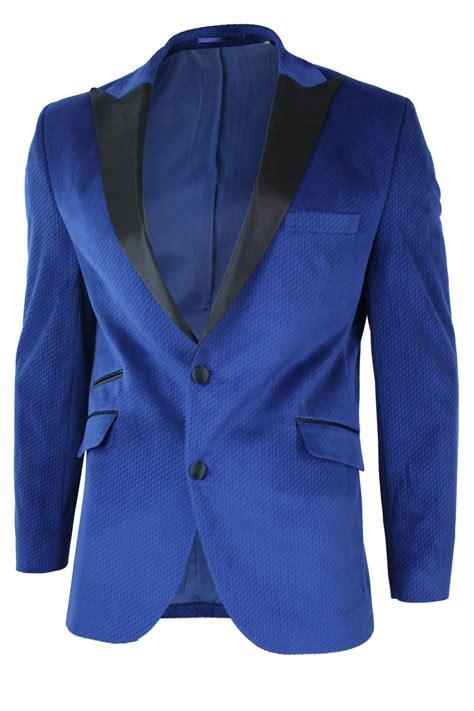 Blue Black Blazer mens slim fit 1 button velvet blazer tuxedo dinner jacket royal blue black ebay