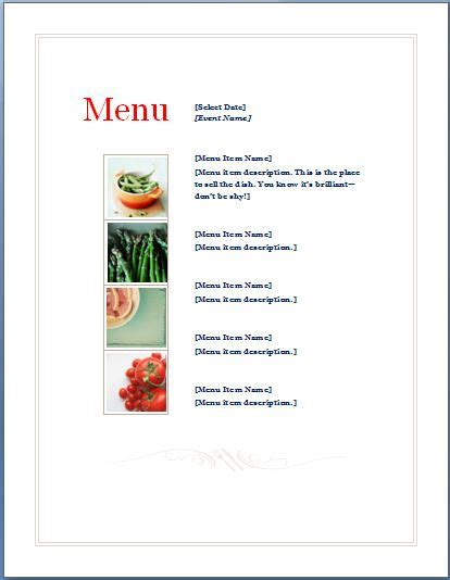 easy menu templates free sle event menu planner template are you responsible to