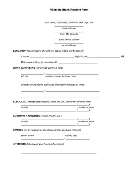 Resume Forms by Free Fill In The Blank Resume Resume Cover Letter Exle