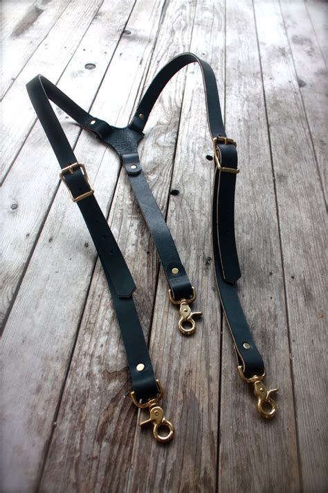 Handmade Suspenders - handmade mens leather suspenders steunk with brass hardware