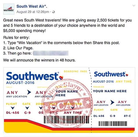 southwest air ticket giveaway scams appearing  facebook hoax slayer
