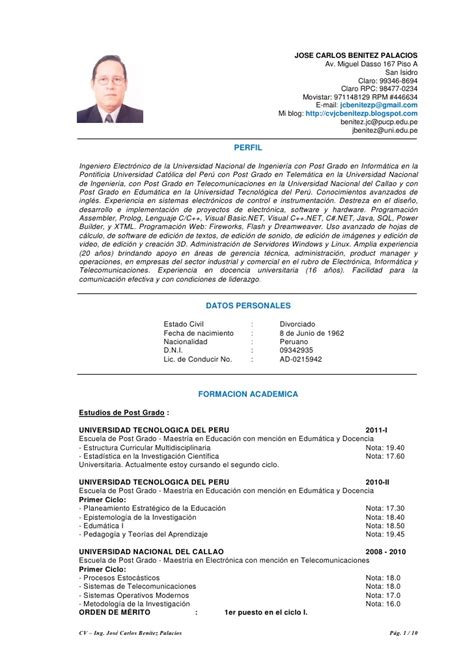 Modelo Curriculum Vitae Ingeniero Telecomunicaciones Cv Jcbenitez 200911 Color