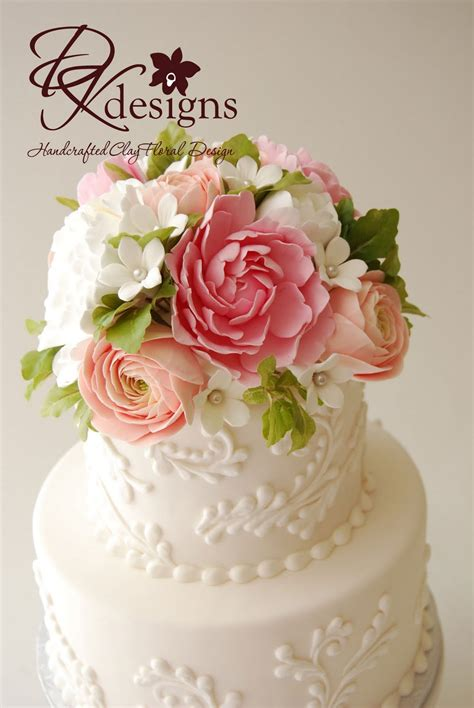 Wedding Cake Flower Tops by Custom Cake Topper Peonies Ranunculus And Stephanotis