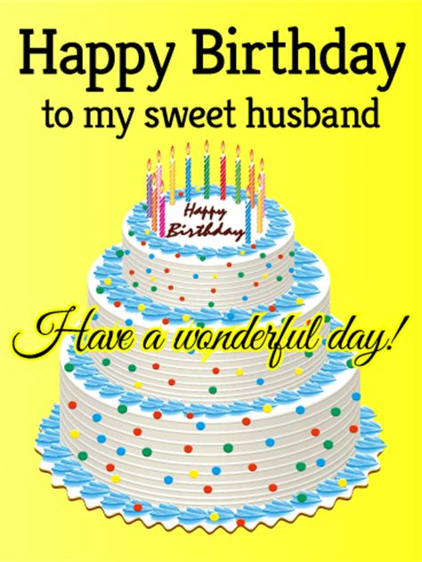 Happy Birthday To My Card To My Sweet Husband Happy Birthday Card Birthday