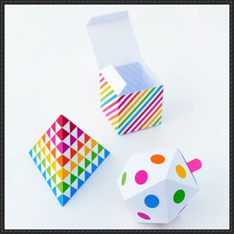 papercraft geometric gift boxes template and tutorial