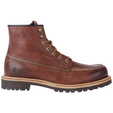 frye mens dakota mid lace leather boots in brown for