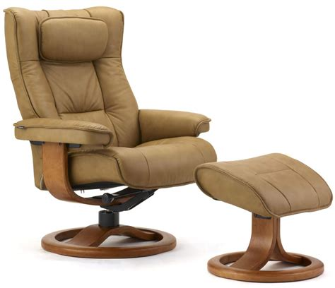 Scandinavian Recliner by Fjords Regent Ergonomic Leather Recliner Chair Ottoman