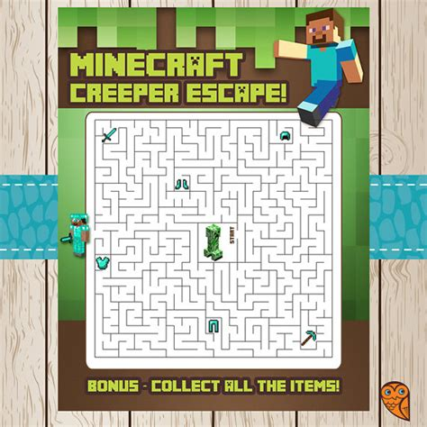 printable minecraft quiz printable minecraft maze game creeper escape by