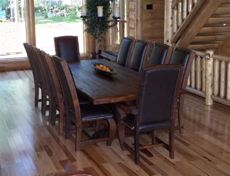 Rustic Dining Room Tables Rustic Lodge Log And Timber Furniture Handcrafted From Green Reclaimed Pine And Northern
