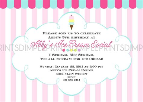 Ice Cream Social Printable Party Invitation Dimple Prints Shop Social Invitation Template
