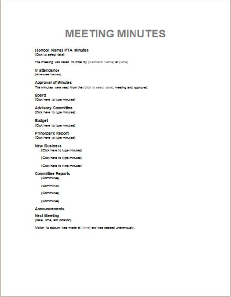 template of minutes of meeting professional meeting minute templates for ms word