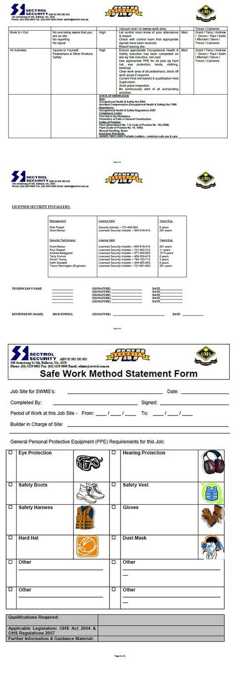 safe work method statement template workcover senior