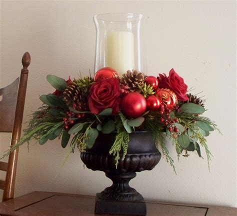 christmas centerpiece red silk in black urn 79 00 via