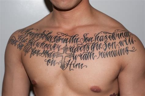 body tattoo writing lettering tattoo on chest with cross yummy tats for men