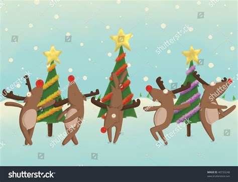 dancing christmas tree picture reindeer front trees illustration stock illustration 40733248