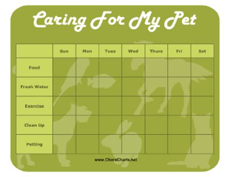 Printable Pet Care Chore Chart Cat Feeding Schedule Template